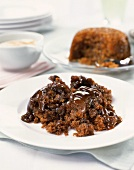 Sticky toffee pudding with chocolate sauce