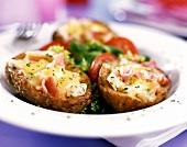 Stuffed potatoes, with salad garnish