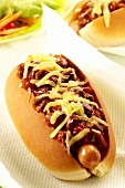 Hot dog with chili sauce and cheese