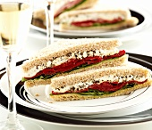Sandwiches with peppers and goat's cheese