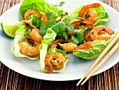 Thai shrimps with lettuce and coriander leaves