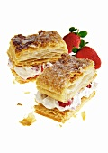 Puff pastry with strawberry and cream filling