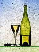 White wine glass, half-full white wine bottle and corkscrew
