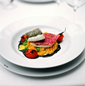 Red mullet and pike-perch on saffron risotto