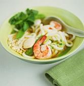 Udon noodle soup with shrimps