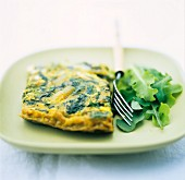 Omelette with asparagus and rocket