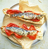 Crostini sarda e peperone (Baguette with anchovies & peppers)