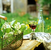 Two glasses of red wine in springtime garden