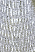 Pyramid of empty champagne glasses
