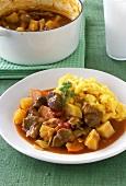Lamb stew with mashed potato