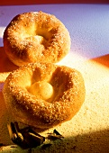 Sweet doughnut with cinnamon and sugar