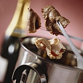 Champagne fondue with meat and turkey