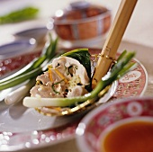 Fondue chinoise with spring onions