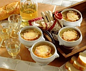 French onion soup with white wine and baguette