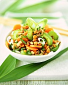 Grain salad with vegetables and parsley