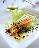 Raw salad platter with fresh cress