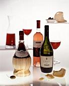 Italian red wine bottles and rosé bottle