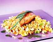 Pearl barley with fried salmon trout