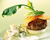 Lamb burger with crisps and kohlrabi