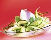 White tomato mousse with cucumber coriander & cream sauce