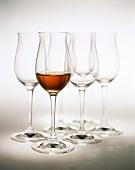 Glass of cognac in front of empty cognac glasses