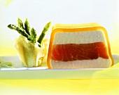 Salmon terrine and green asparagus