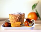 Chestnut soufflé with orange segments