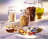 Storage jars with dried pulses; mushrooms; rice