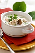 Lemon soup with chicken and parsley