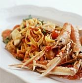 Tagliatelle con gli scampi (Ribbon pasta with scampi & tomatoes)