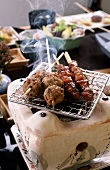 Kebabs on Japanese table grill