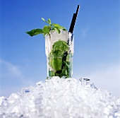 Lime drink with fresh mint on ice