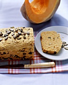 Pumpkin seed bread, a slice cut