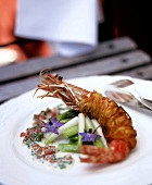 Jumbo prawn in potato crust with spring onions