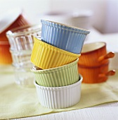 Colourful soufflé dishes