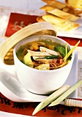 Spicy Asian chicken soup with lemon grass