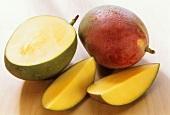 Mangos (Keitt variety) with drops of water