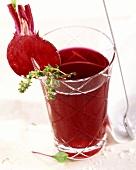 Beetroot juice in glass