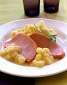 Smoked pork rib (Kasseler) with apple sauce and mashed potato