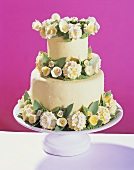Two-tiered wedding cake with flowers