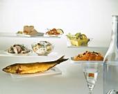 Various fish dishes and smoked fish