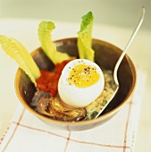 Soft egg and aubergine on risotto