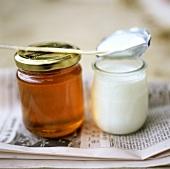 Honey and yoghurt on French newspaper