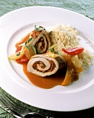 Turkey roulade with rice and fruit