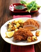 Turkey Cordon Bleu with roast potatoes