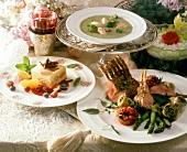 Christmas dinner with broccoli soup, rack of veal and tiramisu