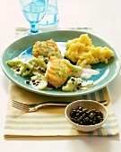 Coley fillet with braising cucumber, capers & mashed potato