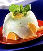 Lime cream with candied orange slices