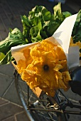 Courgette flowers in crate on bicycle