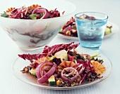 Wild rice salad with oranges, radicchio and onions